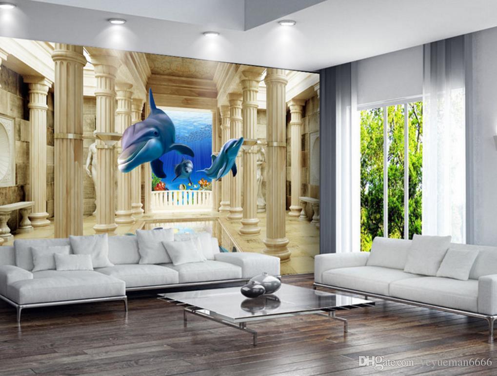Großhandel 3d Wandbilder Wallpaper Dolphin Roman Spalte ...