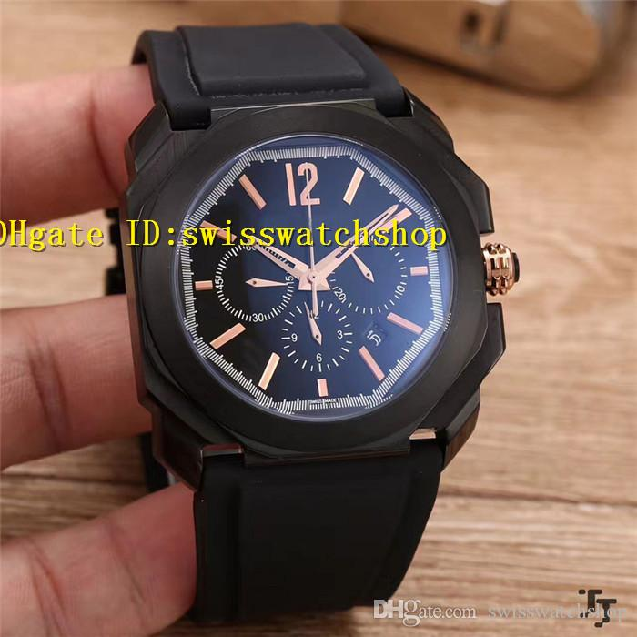Luxury Brand Octo Solotempo Quartz Chronograph Black Dial Men's Watch 41mm Black Rubber Strap Casual Man Watches
