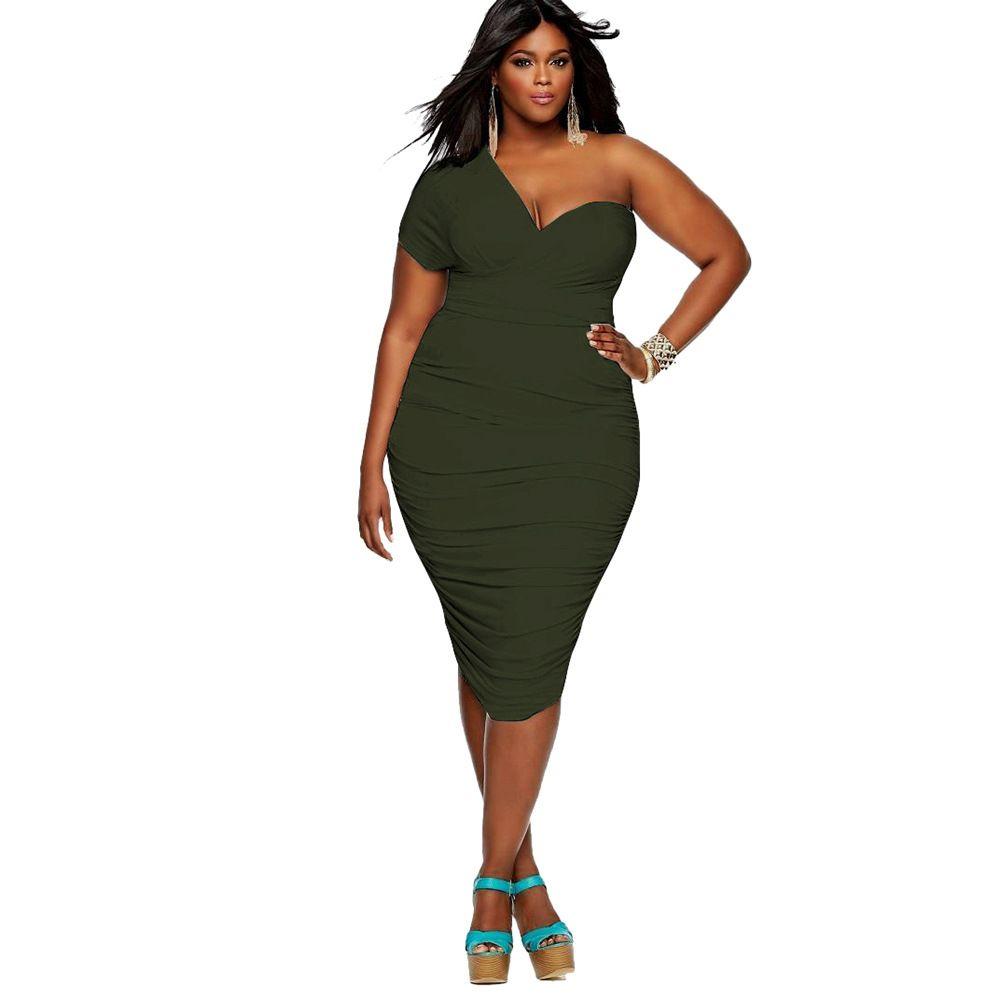 Großhandel Schulterfrei Sexy Kleid Frauen Dicke Menschen Übergroße Kleider  Für Weibliche Heiße Verkauf Einfarbig Verband Dehnbares Kleid LMT 11 Von
