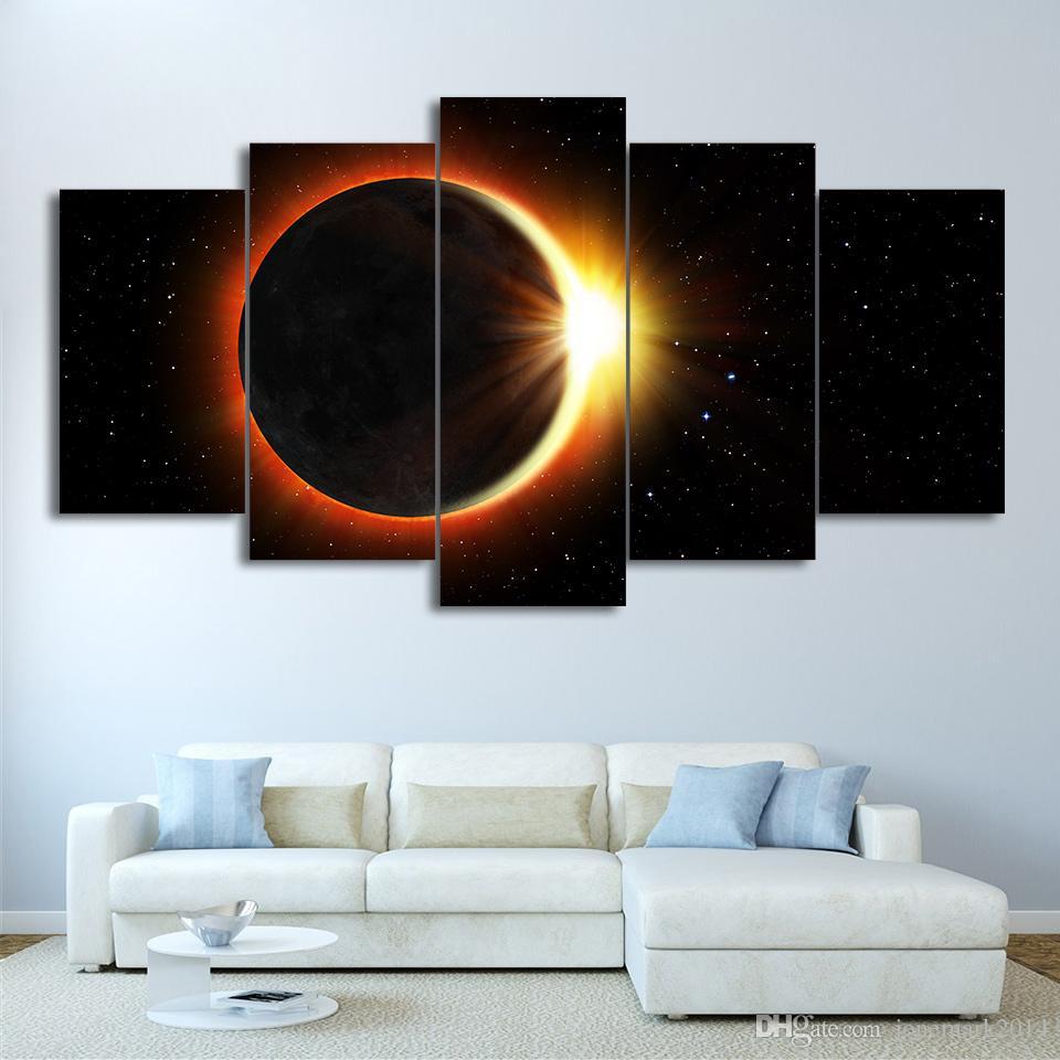 Compre 5 Piezas Enmarcadas Hd Impreso Eclipse Universo Lienzo Obras ...