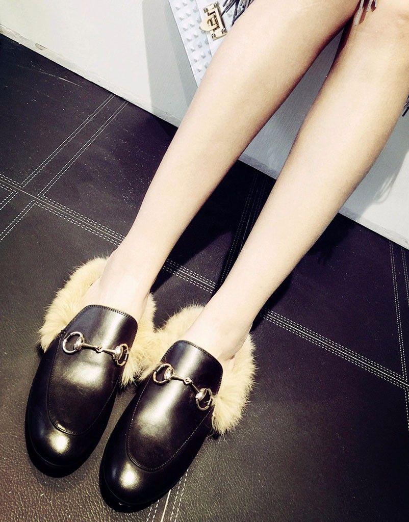 Mode Femmes Vraies Chaussures De Fourrure En Cuir Véritable Femmes Slipper Flats Femme Slip Décontracté Sur Mocassins Flats Pour Femmes Chaussures Confortables