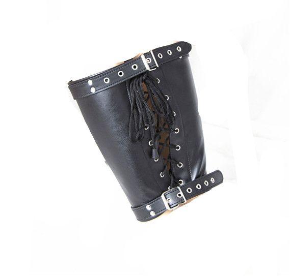 Restricciones de pierna bdsm vástago aglomerante bondage fetiche fantasías jugar para mujeres maduras piel sintética negro GNHC.10139
