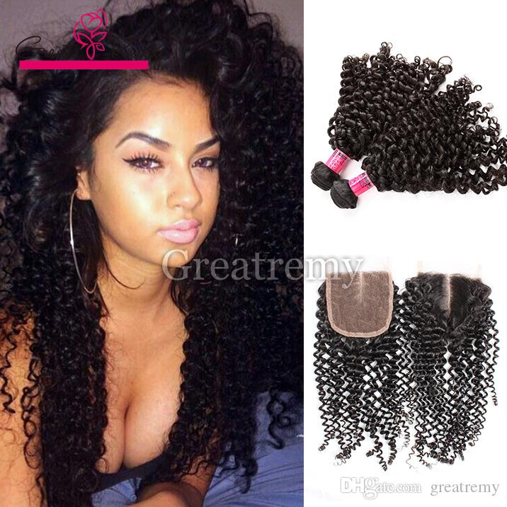 Greatemy® Curly Hair Extension 2pcs buntar med 3 part Curly Lace Closure (4 * 4) 100% Malaysisk Virgin Human Hair Weave On Sale