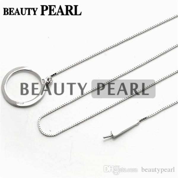 5 Pieces Sterling 925 Silver Box Chain Circle Pendant Mounting Necklace Jewellery Necklace Blank Settings for Pearls