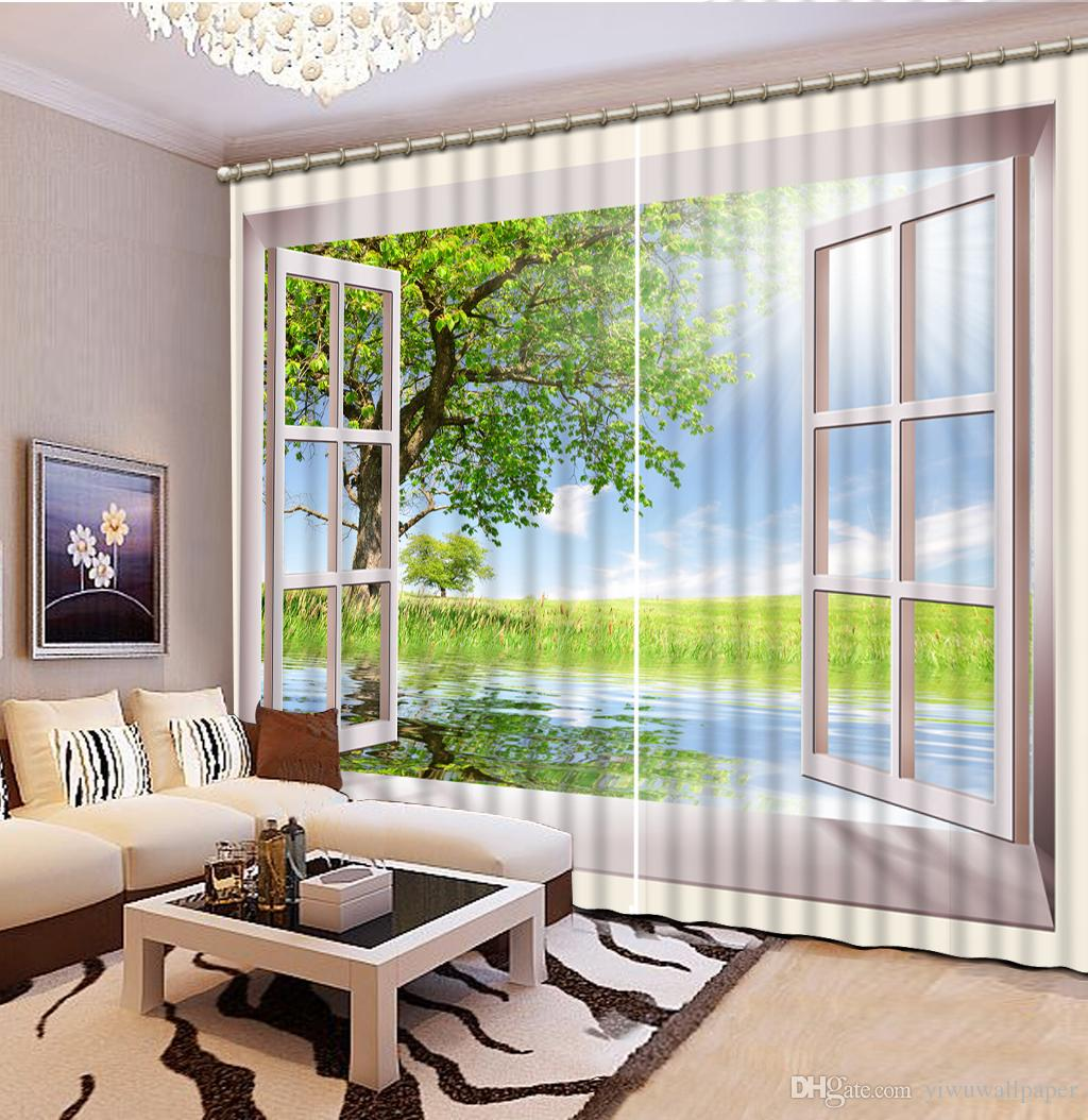패션 3D 홈 장식 아름 다운 높은 품질 사용자 지정 크기 현대 창 자연 풍경 사용자 지정 커튼