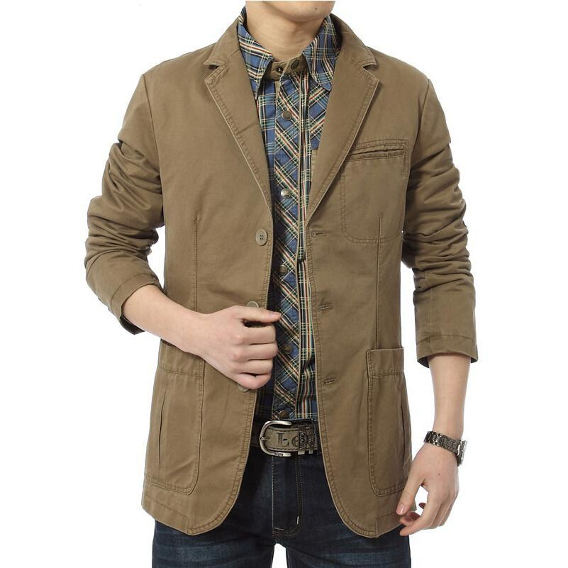New blazer uomo Casual Blazer Cotton Denim Parka Giacche slim fit uomo Army Green Khaki Large Size M -XXXXL