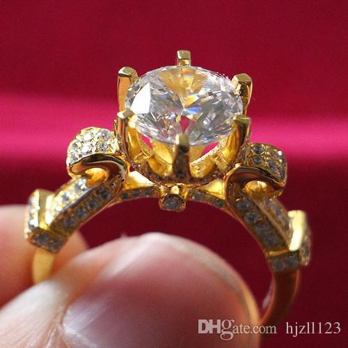 Fabrika Outlet 24 K Sarı Altın Kaplama Evlilik Takı 5 ct SONA Sentetik Elmas Yüzük Nişan Gümüş Takı Önerin