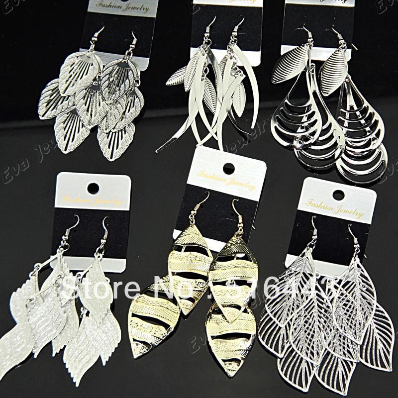 Sıcak Satış 6 Pairs Mix Stil Moda Gümüş Altın P buzlu Takılar Bırak Küpe Kadınlar için Toptan Takı Lots