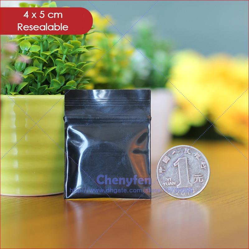"""Ücretsiz Kargo 500 adet Üst Kalite 8mil Küçük Kilitli Çanta 4x5 cm Opak Siyah Renk Takı Baggies 1.6 """"x 2"""" Açılıp Kapanabilir Plastik Torbalar"""
