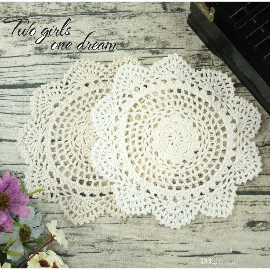 Cotton Mat Hand Crocheted Lace Doilies 20CM 20Pcs Flower Shape Coasters Cup Mug Pads Home Coffee Shop Table Decoration Crafts