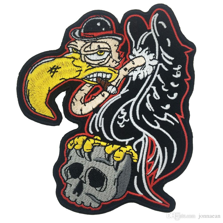New Arrival EAGLE Grab Skull Embroidered Iron On Jacket Patch DIY Applique Accessory Sew On Badge Stitch Patch Free Shipping