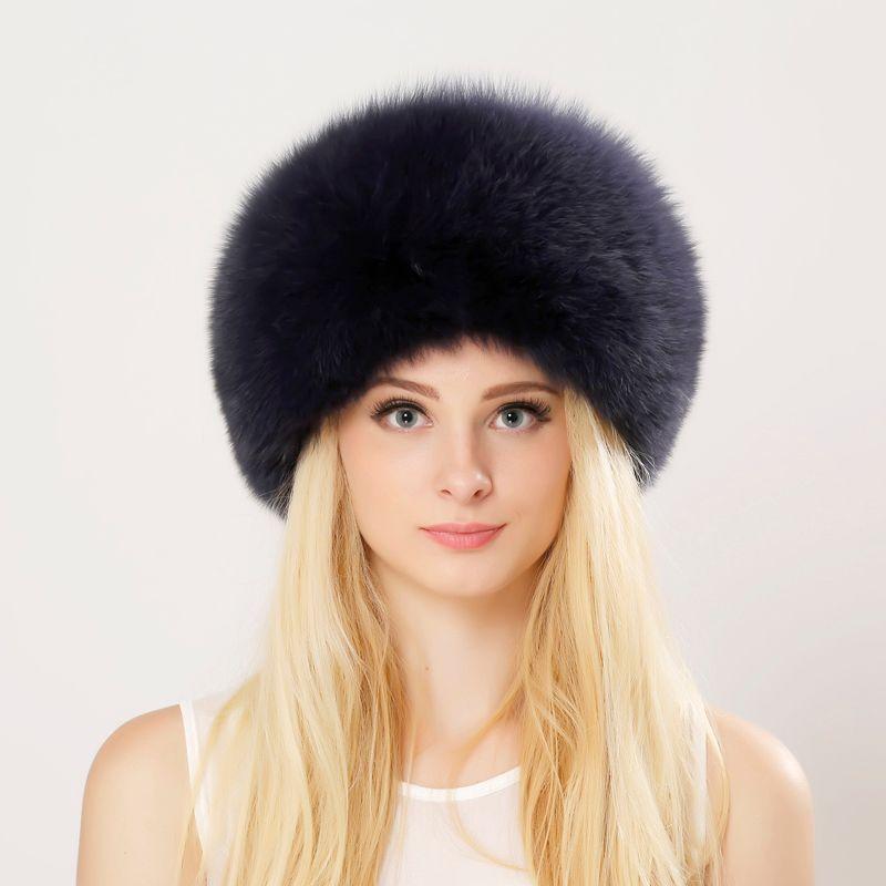 Зима унисекс подлинная Лисий мех шляпа реального меха бомбардировщик шляпа с природой кожаный Корона толстый теплый русский меховой шапки