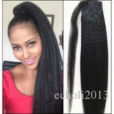 Capelli umani Coda di cavallo LIGHT yaki Straight Posticci Capelli brasiliani vergini Yaki Straight Wrap Around Ponytails Extension per capelli