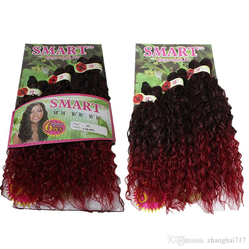 Synthetic Hair Weaving Ombre Black Bug Purple Color Weft Hair Curly Synthetic Hair Extensions for full head 6pcs/lot 14 16 18inch
