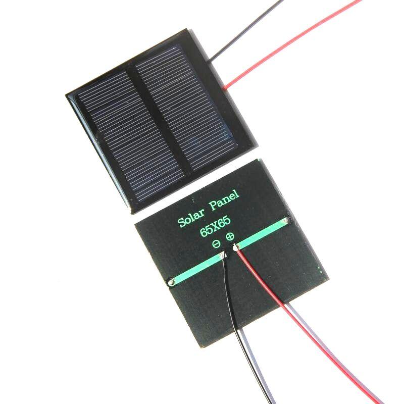 بالجملة! 20PCS / الكثير الألواح الشمسية 5.5V خلية 0.6W الشمسية البسيطة 65x65MM على الطاقة الصغيرة Applianc لعبة Panle + 15CM كابل شحن مجاني