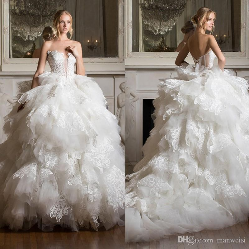 Pnina Tornai 2019 Tiered Skirts Wedding Dresses Backless Lace Appliqued Ball Gown Wedding Dress Plus Size Bridal Gowns