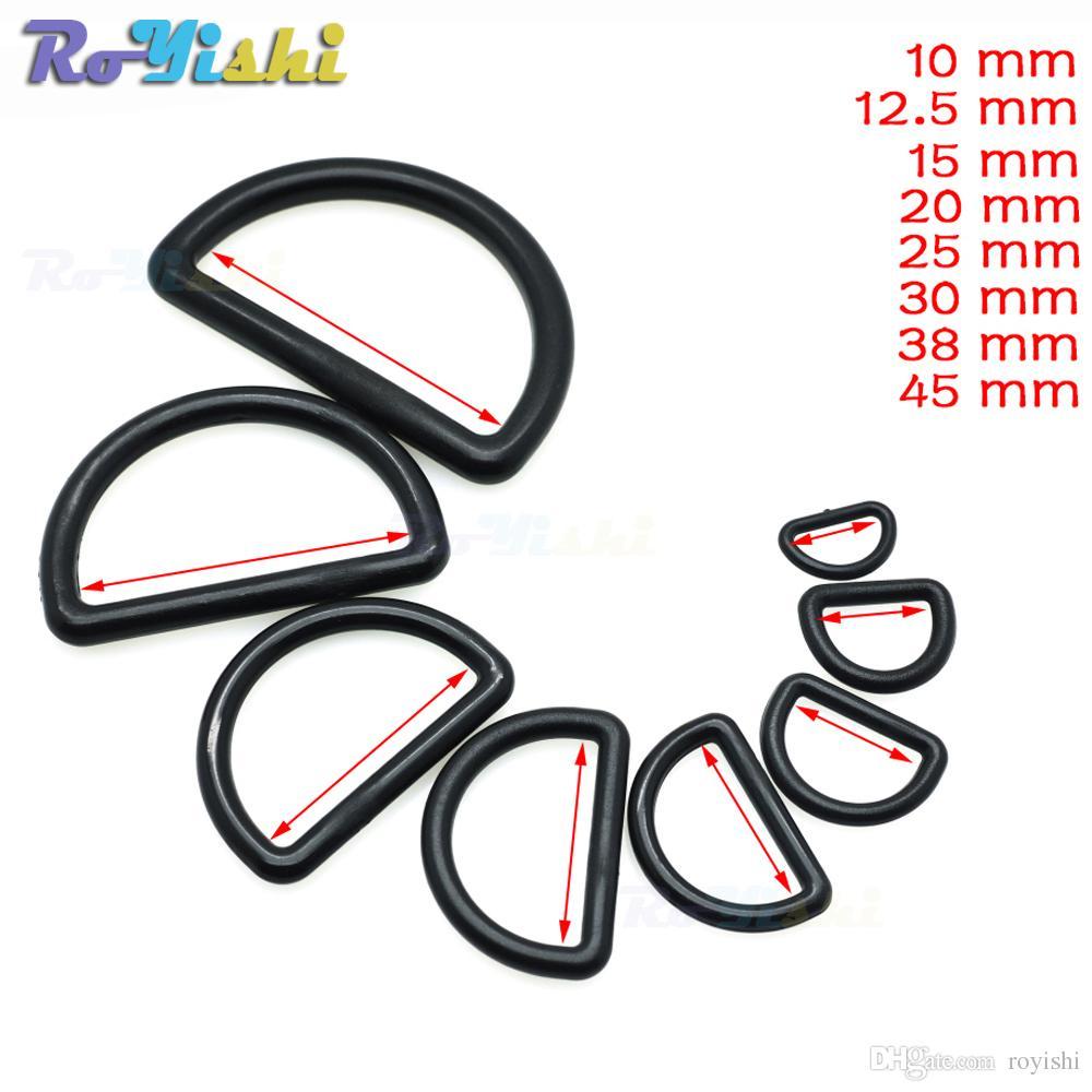 100 قطعة / الوحدة البلاستيك d- حلقة الابازيم حزام حجم 10 ملليمتر 12 ملليمتر 15 ملليمتر 20 ملليمتر 25 ملليمتر 30 ملليمتر 38 ملليمتر 45 ملليمتر الأسود