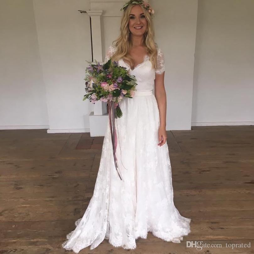 Full Lace Bohemia Summer Beach Wedding Dresses with Short Sleeve A-Line Sheer Buttons Back 2019 Plus Size Bridal Gowns for Wedding Cheap