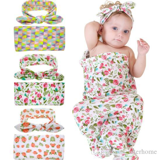 INS Baby Swaddle Sack Infant Rose Flower Blankets Newborn Cotton Cocoon Baby Soft Bedding Sleep Sack With Knot Headband Cap Hats Set H74