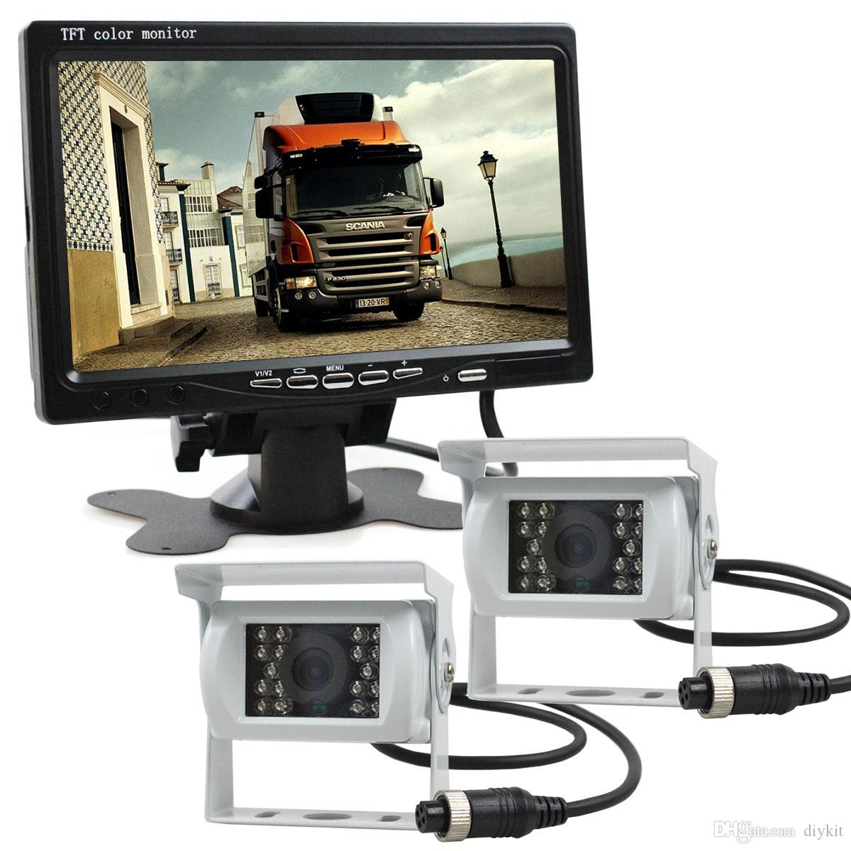 2 x 4pin Night Vision Rear View Camera Car Camera + DC 12V-24V 7 inch TFT LCD Car Monitor System for Bus Houseboat Truck