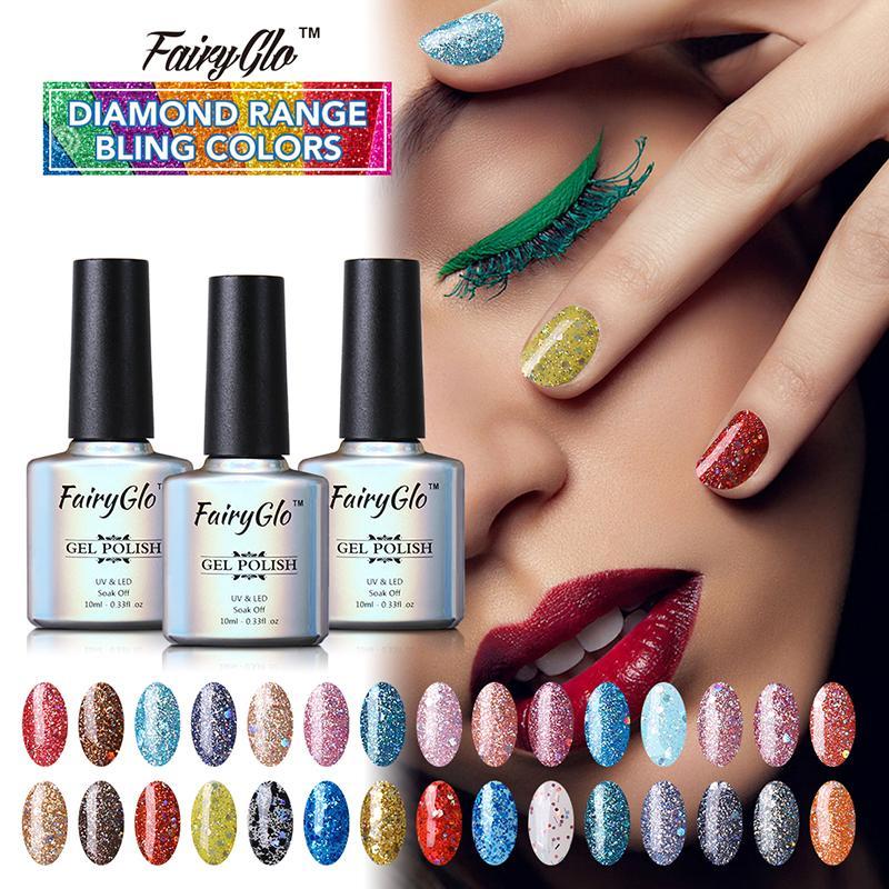 Toptan Satış - Toptan-FairyGlo 1pcs Diamond Range Bling Renkli Jel Oje 10ml Vernis Yarı Kalıcı Jel Lak UV LED Jel Kapalı Islatın Jel 30 Renk
