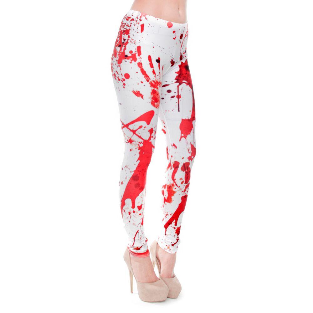 Women Red Blood Fingerprint 3D Print Skinny Stretchy Gym Yoga Leggings