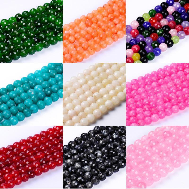 1 pack / lot 8mm de Alta calidad multicolor redondo multifacético gema natural cuentas de piedra semi preciosas para hacer la joyería DIY