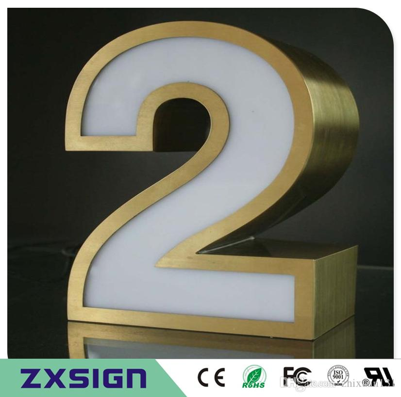 """20 cm yüksek Açık akrilik led ev numarası, 8 """"yüksek frontlit paslanmaz çelik taraf ev numaraları, su geçirmez dijital işaretler"""