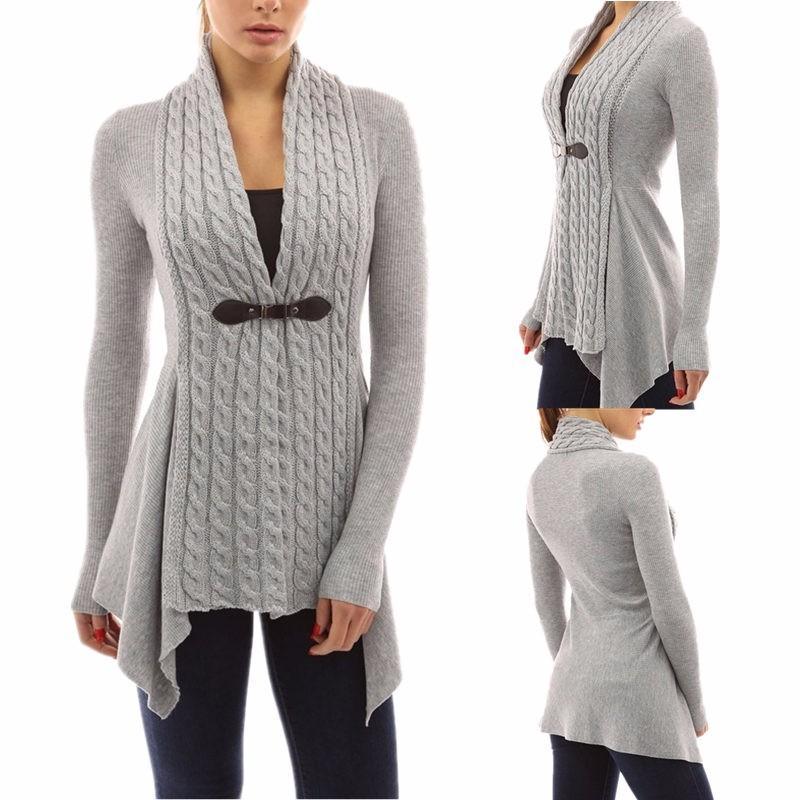 Las mujeres al por mayor del otoño invierno frente hebilla trenza Slim Fit manga larga suéter rebeca envío gratis