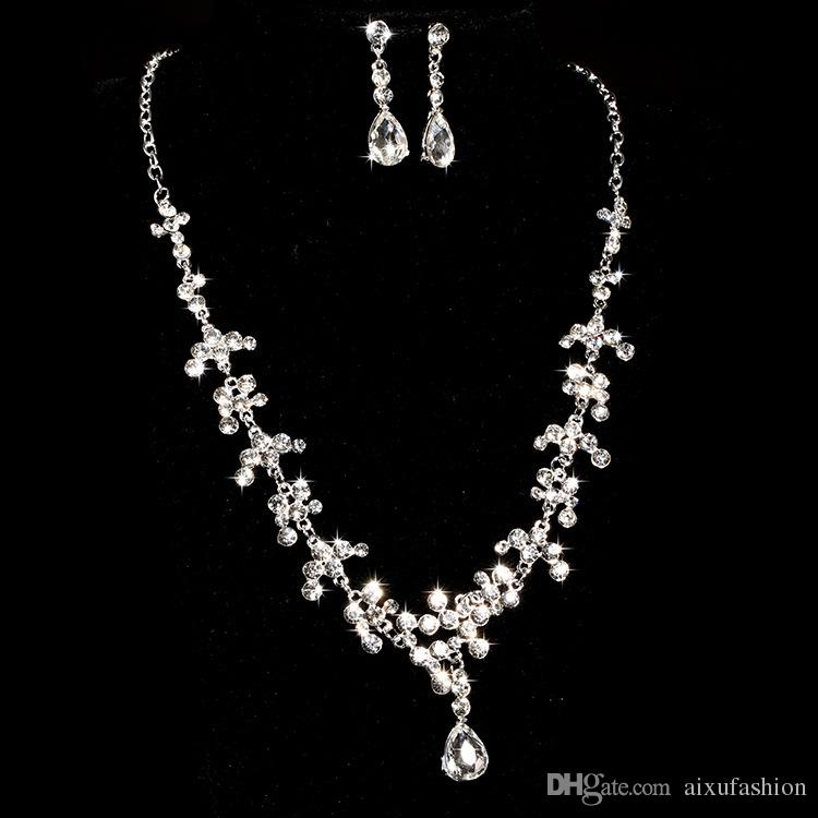 2019 Bride Wedding Jewelry Sets Alloy Necklace Earrings Two Piece