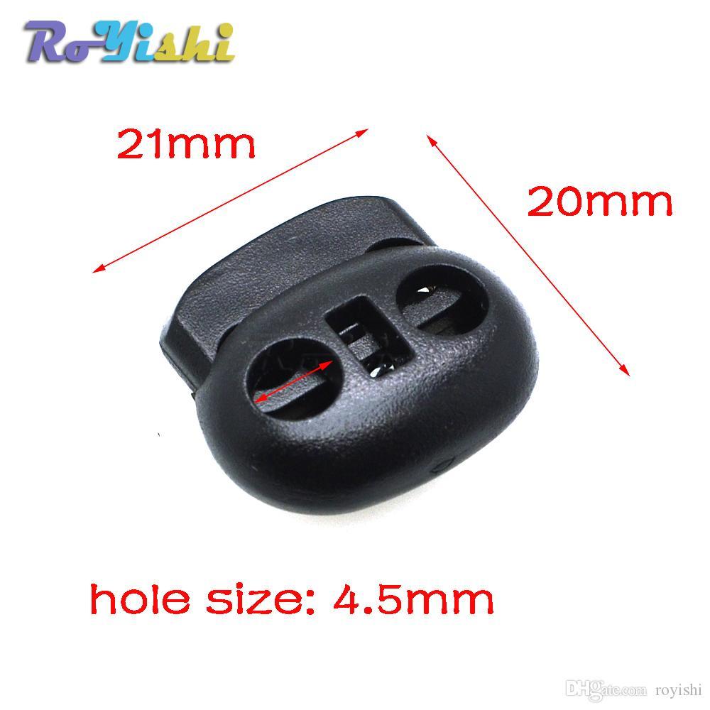 100 pçs / lote Cord Bloqueio Toggle Bean Stopper Plástico Tamanho: 20mm * 21mm * 8mm Toggle Clipe Preto