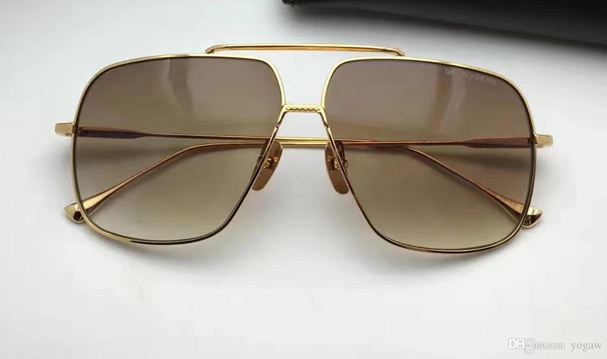 Caso Brown Óculos de Sol Gold Men Gradiente Len Fashion Shades com New Square Sunglasses Eyewear Vintage Itkgc