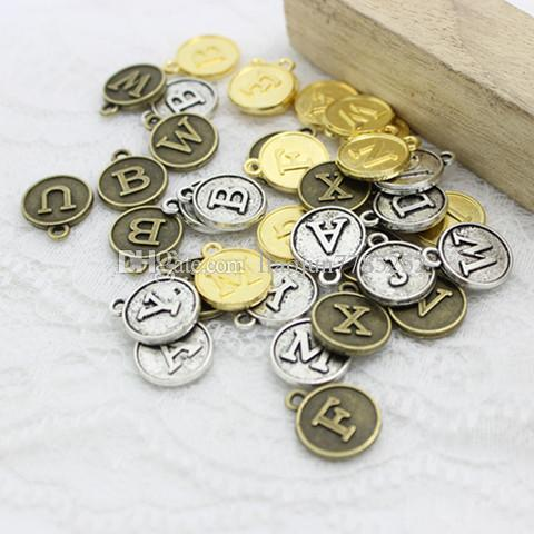 Sweet Bell Min order 3set Three Colors round Alphabet A-Z Letter Tag Charms 12.5*15mmFor Jewelry Making Wholesale D0739