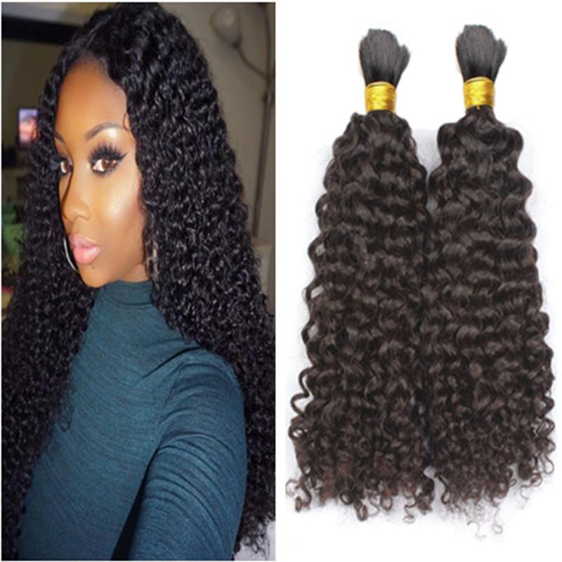 8A Unprocessed Brazilian Afro Kinky Curly Human Braiding Hair 3pcs lot No Weft Bulk Hair For African American Natural Black Hair
