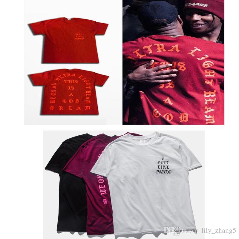 Оптовая продажа-4 цвета C4 хип-хоп тройники я чувствую, как Пабло футболка Kanye West мужчины футболки с коротким рукавом 2017 любителей уличной S-3XL