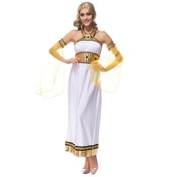 White Arabian Goddess Greek Goddess Costume Halloween Party Cosplay Egyptian Goddess Dress with Half Yellow Armwear