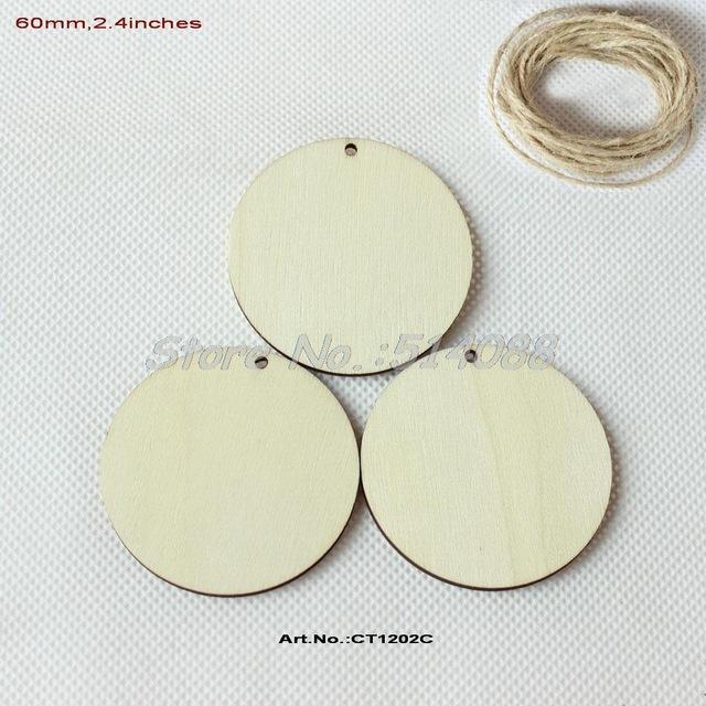 Atacado- (50pcs / lot) 60 milímetros em branco círculo de madeira chaveiro rodada discos de madeira com etiquetas do favor do furo 2.4 polegadas -CT1202C