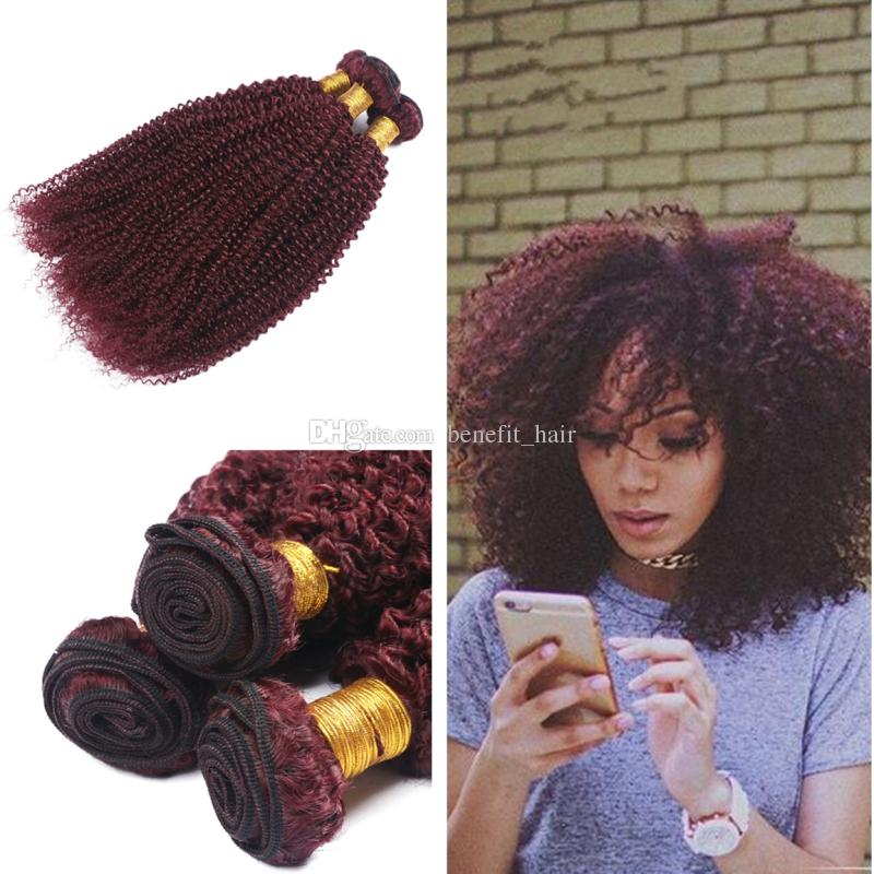 #99j Afro Kinky Curly Hair Extension 3Pcs For Black Woman Brazilian Virgin Kinky Curly Burgundy Human Hair Weft Extension 10-30 inch