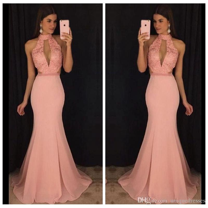 2018 Sexy Long Prom Dresses Long High Neck Formal Mermaid Evening Gowns Sweep Train Lace Chiffon Dress