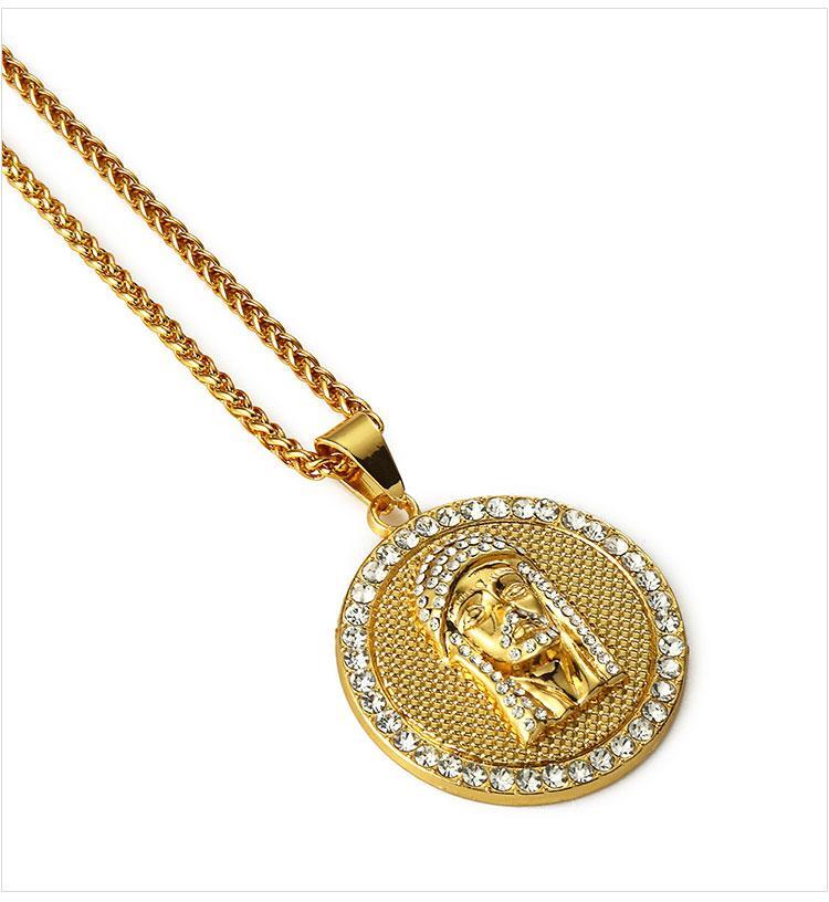 03 hip hop jesus round shape pendant necklace