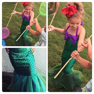 Girl Little Mermaid Tail Princess Ariel Dress for Kid Halloween Cosplay Costume