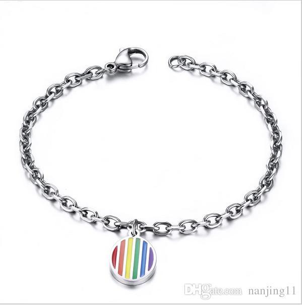Fascino Bracciale Arcobaleno per donna Fascino rotondo Bracciali con braccialetti a catena Braccialetti Gioielli in resina acciaio PB-006