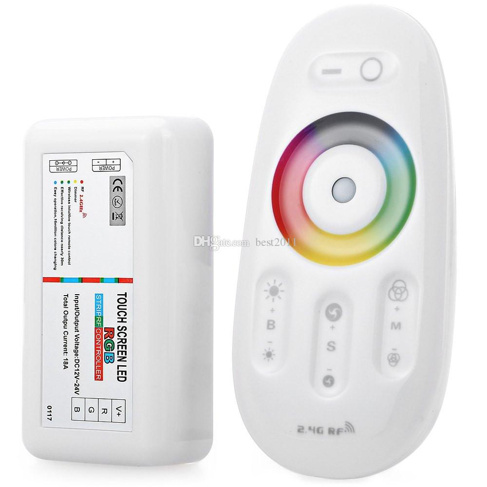 Remote Control RGB Controller DC 12-24V 18A 2.4G Wireless Touch Screen Christmas Ball Bulb RGB RF Controller For LED Strip