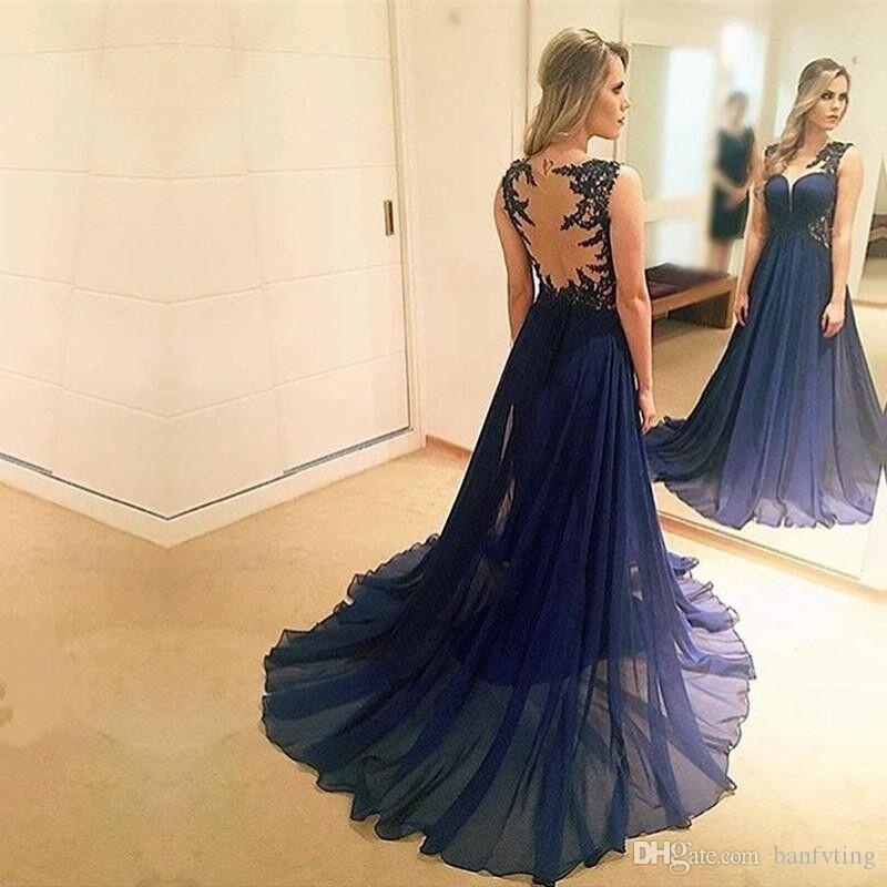 buy new products complimentary shipping Dark Blue Prom Dresses Illusion Back With Appliques Runway Fashion Sheer  Crew Neck Beauty Chiffon A Line Full Length Evening Dress New Prom Dresses  ...