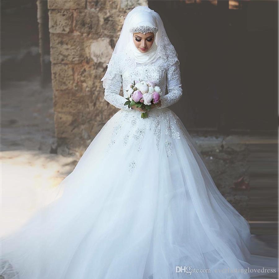 Großhandel Saidmhamad Hohe Ansatz Spitze Weiße Spitze Und Tüll Brautkleid  Mit Langen Ärmeln Muslim Crystals Brautkleider Mit Kopftuch Von