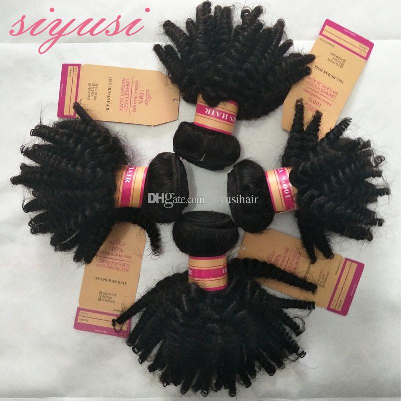9A Siyusi 헤어 익스텐션 Human Hair weave 인도 몽골 말레이시아 페루 브라질 버진 헤어 4 번들 Kinky Curly Weave