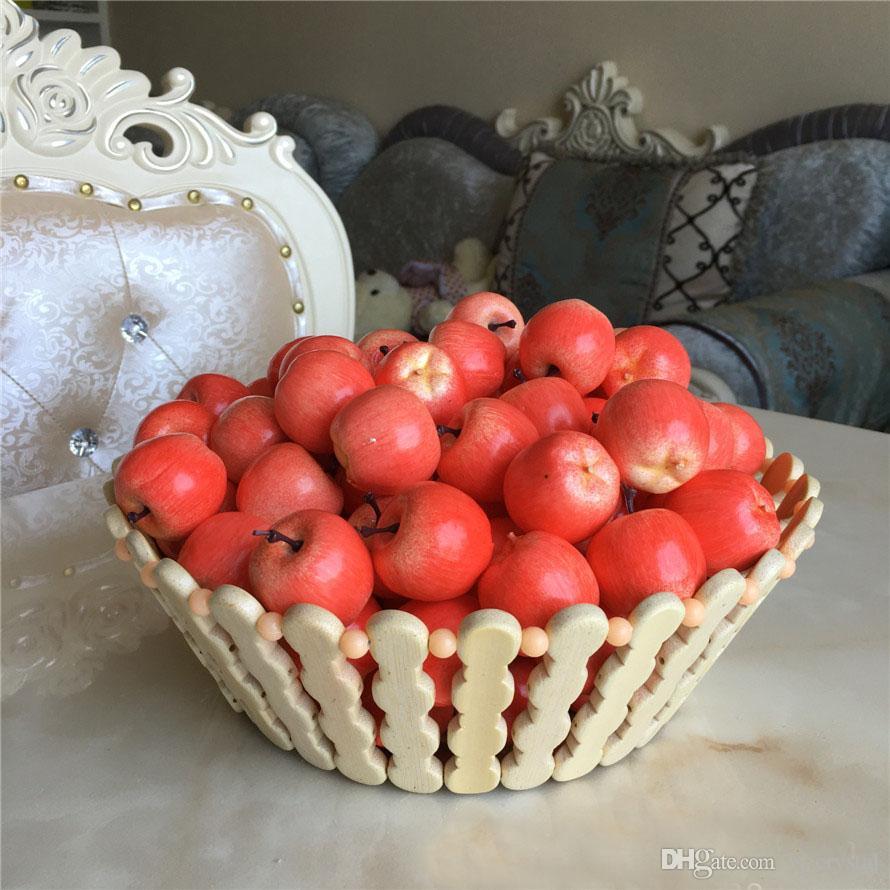 3CM Green Red Faux Mini Apple Artificial Fruits Vegetable Living Room Sample House Decoration Supplies 100pcs/lot DEC267