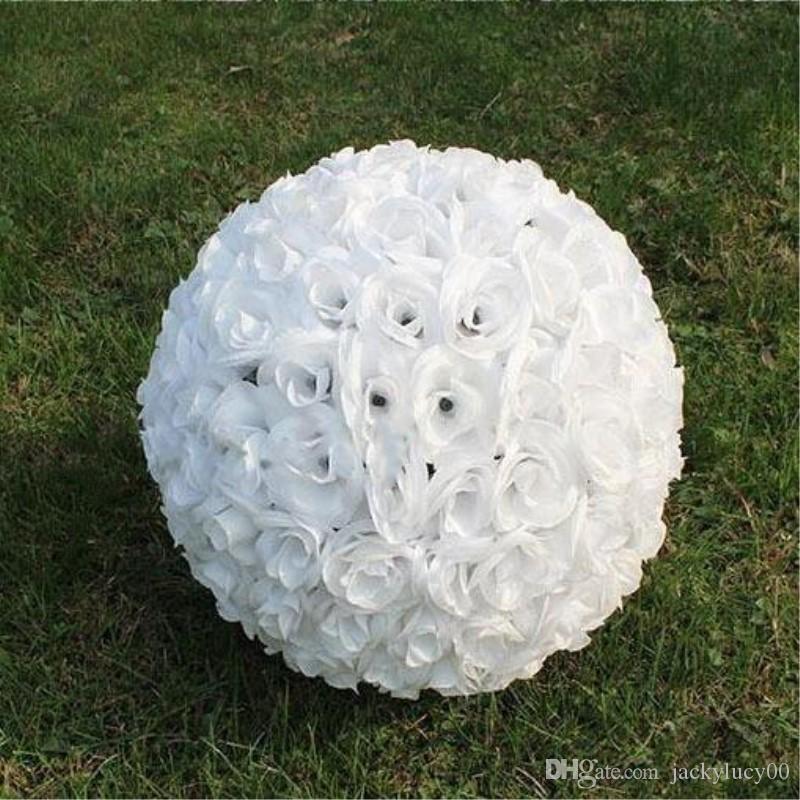 """12 """"(30cm) 결혼식 장식 인공 로즈 실크 꽃 공 파티 센터 민트 장식 매달려 키스 공"""