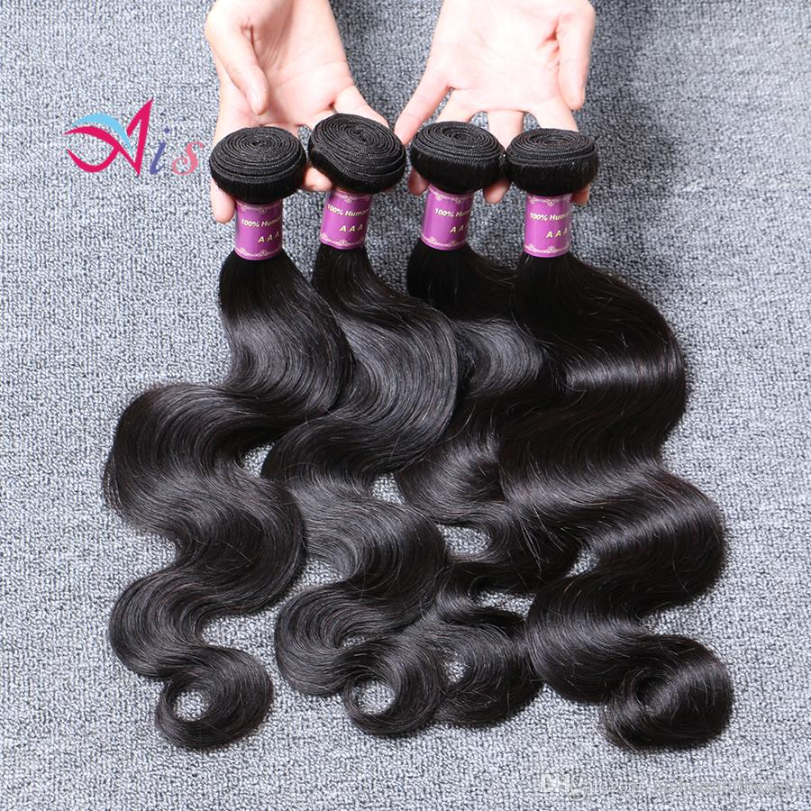 6A малазийский волос Объемная волна 4шт / серия продуктов волос Малазийский Объемная волна Cheap малайзийских волос Связки цвет 1b Быстрая доставка Бесплатная Shippin