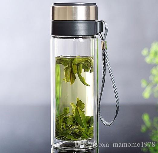 1 PC 320 M de camada dupla de vidro garrafa de água com infusor Selado copo de chá de vidro transparente com corda venda quente J1460